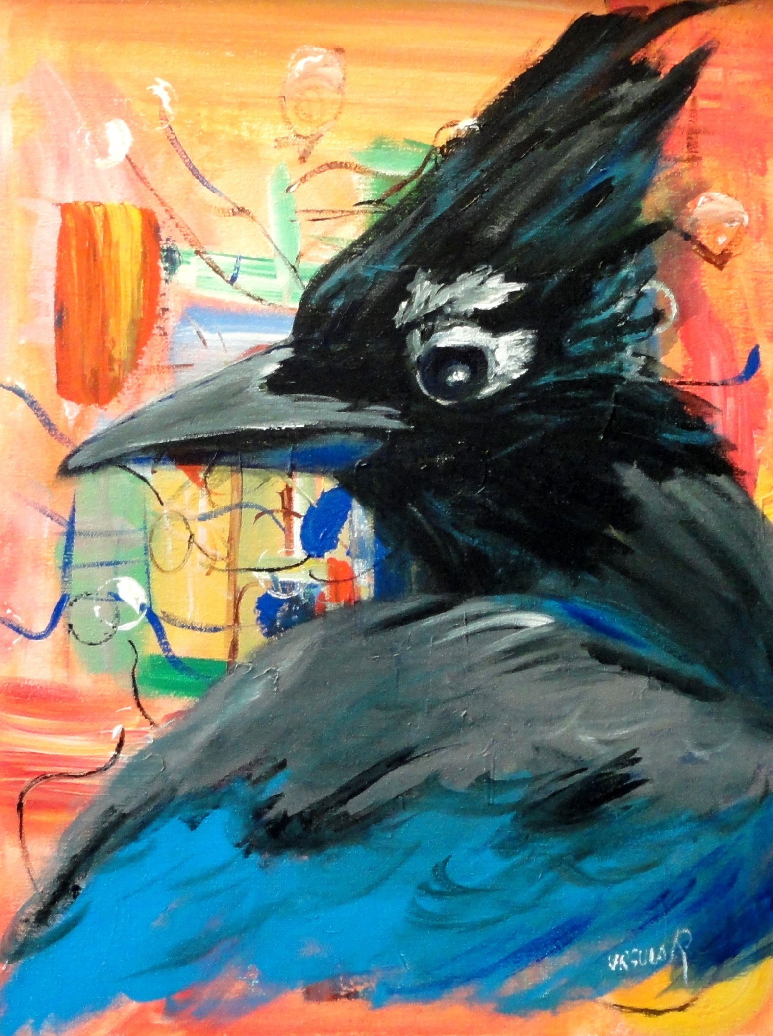 master of his voice - painting of a steller's jay