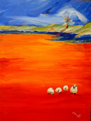 beach landscape with sheep